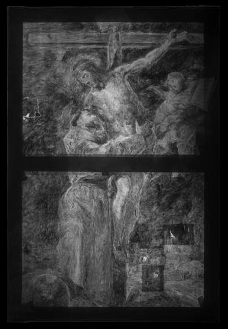 """Fotografía cedida por la casa de subastas Christie's donde se ve una imagen tomada con rayos X de una reproducción del célebre cuadro """"San Francisco abrazando a Cristo en la cruz"""" de Bartolomé Esteban Murillo, pintado por el propio artista."""