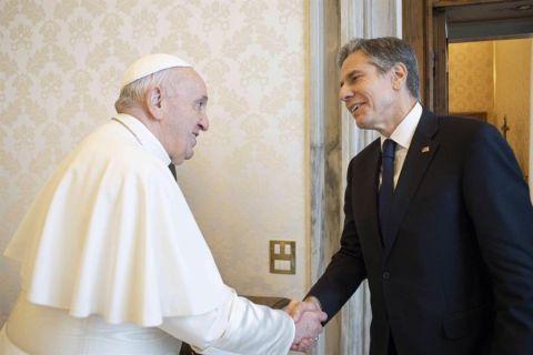 El papa Francisco y el secretario de Estado de Estados Unidos, Antony Blinken - 02 - 280621