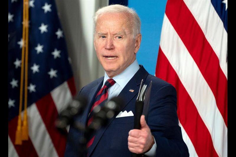 El presidente de Estados Unidos, Joe Biden, fue registrado este miércoles, durante una intervención, en la Casa Blanca, en Washington DC (EE.UU.).