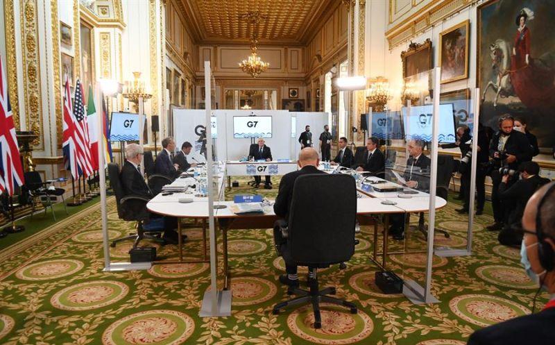 Imagen de la primera sesión de la reunión de ministros del G7 en Londres.