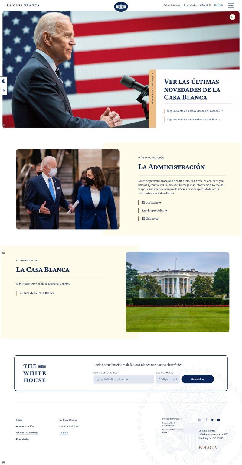 Captura de la portada de la página web de la Casa Blanca en español.