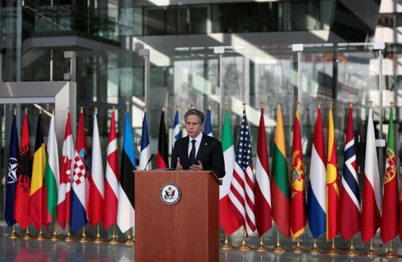 El Secretario de Estado de Estados Unidos, Antony Blinken, habla durante una rueda de prensa al final de una reunión de Ministros de Relaciones Exteriores de la OTAN en la sede de la Alianza en Bruselas, Bélgica, el 24 de marzo de 2021.