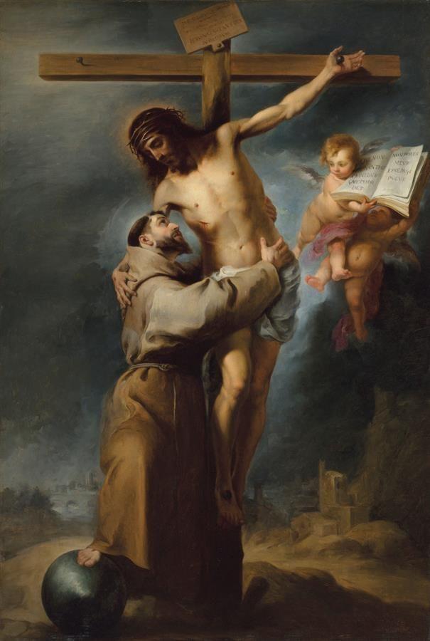 """Reproducción fotográfica cedida por la casa de subastas Christie's donde se muestra el célebre cuadro """"San Francisco abrazando a Cristo en la cruz"""" de Bartolomé Esteban Murillo, pintado por el propio artista."""