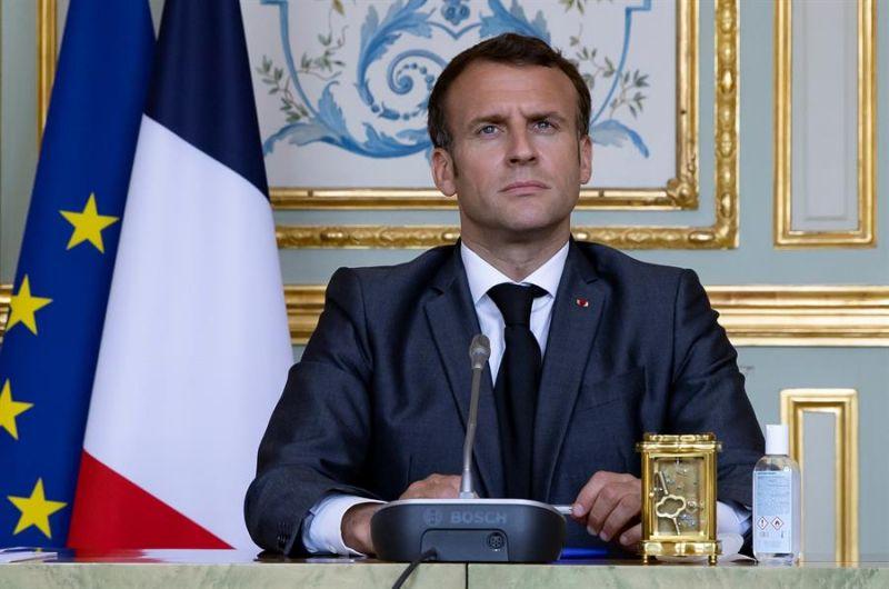 El presidente francés, Emmanuel Macron, participa en la Cumbre virtual sobre el Clima.
