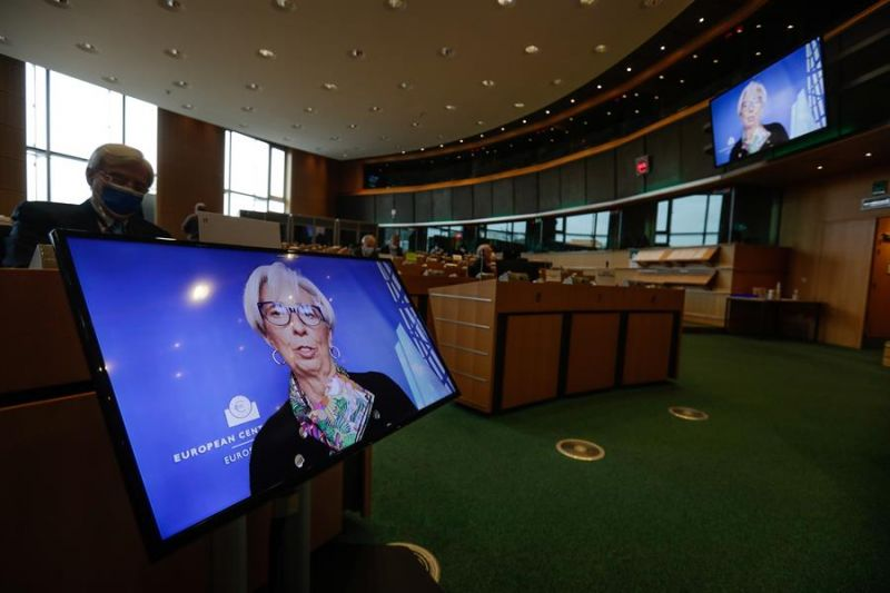 Imagen en pantalla de la presidenta del Banco Central Europeo (BCE), Christine Lagarde,.